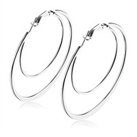 Wholesale Extravagant Earrings - Fate Love Extravagant Double Circle Flat Big Hoop Earrings With S M L XL Size Gold White Color Earring Woman Party Jewelry FL676