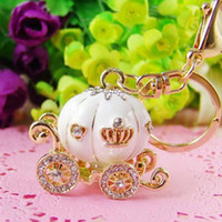 Wholesale pink crystals purse - Lovely Pumpkin Carriage Crystal Pendant Charm Purse Handbag Car Keyring Keychain Party Birthday Gift Pink White Colors ZA2959