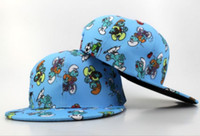 Wholesale Wholesale Youth Kids Caps Hats - 2017 New brand Arrival The Smurfs kids Snapback hat hot sale cartoon cap Adjustable hat for children free size youth cap free shopping
