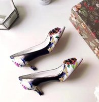 Wholesale Top Brand Ladies Pumps - Brand Spring Autumn Pointed Toe Dress Shoes Elegant Genuine Leather DG Women Fashion Top Qualtiy Lady Shoes Sexy Flower Crystal Shoes ML183