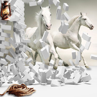 Wholesale Rolling Horse - Wholesale-3d white horse wall murals wallpaper,Canvas 3d horse custom wall paper murals for living room wallpaper murals