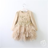 Wholesale Wholesale Yellow Tulle - Kids Girls Lace tutu Dresses Baby Girl Princess 3D Floral Dress 2017 Girl Spring Korean clothing children's clothes