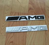 siyah krom araba toptan satış-Metal Gümüş Krom Siyah 3 M AMG Çıkartması Sticker Logo Amblem Araba Rozetleri