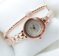 Wholesale Bling Buckle Bracelet - New Arrivals BS Brand Luxury Full Diamond Bling Rose Gold Bracelet Watch Giving Crystal Bangle Present For Women