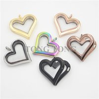 Wholesale Large Glass Lockets - Free Shipping! Large Heart Magnetic Closure 316 Stainless Steel floating glass locket pendant (free matching back plate)