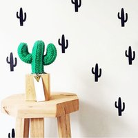 40 unids / lote de Dibujos Animados Little Cactus Pegatinas de Pared para Niños Sala Removable Tatuajes de Pared Blanco y Negro Nursery Home Decoration Arte de La Pared