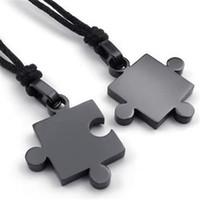Wholesale Gold Couple Necklaces - 2pcs Mens Womens Couples Stainless Steel Puzzle Pendant Love Necklace Set, Black Silver Factory Wholesale 2017