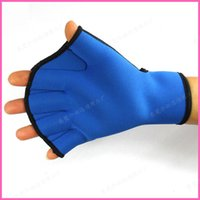 Wholesale Neoprene Gloves Sports - New Winter Swimming Half Finger Webbed Gloves Neoprene Diving Gloves For Men Women Swimming Equipment Blue Black Aquatic Sports Goods S M L