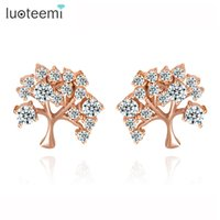 Wholesale Tree Crystal Stud Earrings - LUOTEEMI New Fashion Design Cute Tree Flower Shape Tiny CZ Stone Stud Earrings White&Rose Gold-Color Crystal Wholesale Jewelry