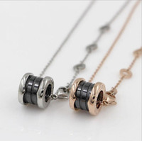 Wholesale Colored Stainless Steel Pendants - 2018 New Four style pendant necklaces inlaid colored Europe and the United States top quality Swiss stainless steel necklace