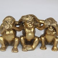 Collectibles chineses Brass See Speak Hear No Evil 3 Monkey Small Statues decoração de casa