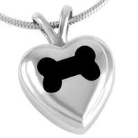 Wholesale Cremation Jewelry Heart Necklace - IJD8063 Black Bone in Heart Pendant necklace 316L Stainless Steel Pet Ashes Holder Memorial Jewelry Cremation Urn Necklace Wholesale