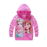 Wholesale Wholesale Sweatshirts For Kids - Wholesale- 2016 Spring girls kids clothes casual sports elsa anna jacket sweatshirts for girls children clothing hooded brand coats hoodies