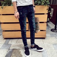 Wholesale Korean Men Slim Trouser - Wholesale-2016 Spring New Korean Man Jeans Color Dots Street Fashion Men Demin Pencil Pants Slim Painted Trousers MQ01