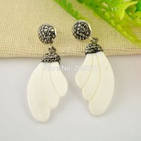 Wholesale Feather Earrings Gold Charms - Finding ~ 5Pair Shell Feather Pave Rhinestone Crystal Charms Earrings For Women