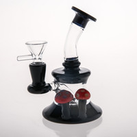 Wholesale Cheap Hand Pipes Free Shipping - Red Mushroom Mini Black Bongs Lovely Hand-Blown Glass Oil Burner Oil Rigs Glass Bongs For Smoking Cheap Dab Rig Water Pipes Free Shipping