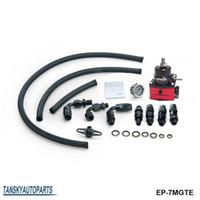 Wholesale Pressure Regulator Kit - EPMAN -NEW Racing Adjustable Fuel Pressure Regulator Gauge Kit BLACK +BLACK Fittings With Oil Line EP-7MGTE