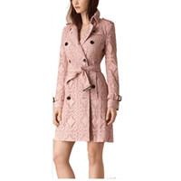 Wholesale Trench Coat For Women Pink - 2017 London Brand Pink Trench Coat Renda Classic European Trench Coat For Women Outwear Plus Size Lace Trench Coat