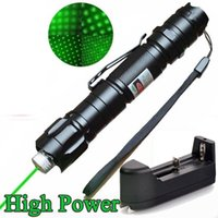 Wholesale Astronomy Powerful Green Laser Pointer - 10Mile Military 009 2in1 Green Laser Pointer Pen Star Cap Astronomy 5mw 532nm Powerful Cat Toy+18650 Battery+Charger