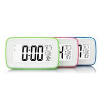 led reloj dc al por mayor-3 colores Reloj Despertador Control Digital Multifunción Pantalla de Fecha de Visualización LCD DC 5V Fuente de Alimentación