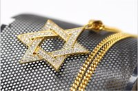 Fashion MenWomen Inlay Rhinestone hexagram satellite pendentif Hiphop Statement Long Collier