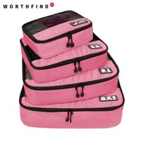 Atacado- WORTHFIND Travel Bag 4 Set Packing Cubes Bagagem Organizadores de embalagem com saco de sapatos Fit 23