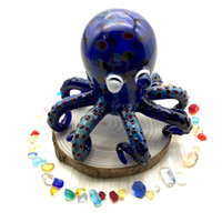 Wholesale Octopus Inch - Hand blown hand pipe blue Octopus glass bubbler octopus glass bong glass water pipe 3 inch
