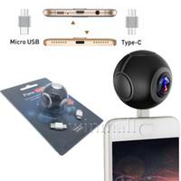 Wholesale Mini Live Camera - Pano Live 360 Air Mini Panoramic 360 Camera Dual Angle Fish Eye Lens Micro USB  Type-C VR Video Camera for Andriod Smartphone