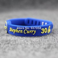 Wholesale Rubber American - 2pcs Basketball palyer Stephen Curry silicone men bracelets Blue rubber sport band Debossed 'I can do all things' sport bangle