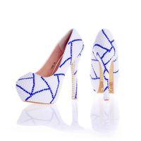 ingrosso scarpe da sposa blu a punta-2017 Nuovo Design Custom Made colore bianco da sposa scarpe con strass blu Prom Pumps Anniversary cerimonia Party Shoes
