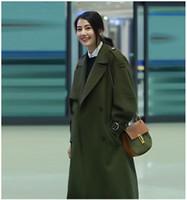 Wholesale korean winter coats for women - Korean Coats for Women Designer Womens Coats Womens Long Winter Woolen Coats Army Green Open Front Split Back Coat