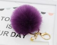 Wholesale Pearl Keyring - 2017 Lanway Gold Rabbit Fur Ball Keychain fur pom pom Keychain fur keyring porte clef llaveros Pearl Key Chain For Bag Charm navidad regalos