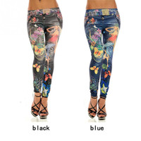 Wholesale Girls Waist Coats - Wholesale- Promotion Stretch Slim Fit Pants Women Leggings Skinny for Girl Fake Jean Floral Print Pattern Ankle Length