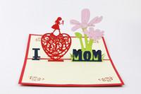 alles gute zum geburtstag geschenk liebe großhandel-Handgemachte schöne alles Gute zum Geburtstag Postkarten Papier Laser geschnittene 3D Pop-up-Begrüßung Geschenkkarten Ich liebe Mama