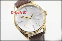 Wholesale Man Hand Watch Time - Luxury mens automatic mechanical Date Unworn 50515 k Gold and Dual Time white watches men wristwatch brown leather belt high quality