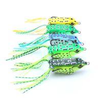 plastik frosch augen großhandel-5pcs Mini Frog Fischköder 5,5cm weich Silikon Kunststoff Fischköder 8g 3D Augen künstlich gefälschte Köder Angelgerät mit Widerhaken