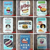 Wholesale wholesale snack cakes - Cake Snacks Hamburger Retro Poster Metal Painting Tin Sign Ktv Bar House Decor Vintage Signs 20*30cm