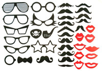 38pcs DIY Fun Party Máscaras Photo Booth Props Bigote Labios Pirata Eye Glass On A Stick Accesorio Boda Muestra Cumpleaños