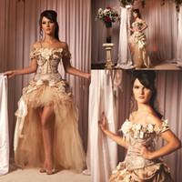 haciendo las gorras hechas a mano al por mayor-Vintage Nueva Moda Champagne vestido de novia mangas casquillo hecho a mano flor alta baja por encargo princesa vestidos de novia vestido de novia