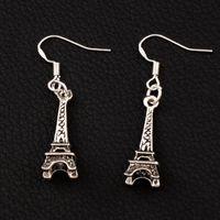 Wholesale Eiffel Earrings - 3D Eiffel Tower Earrings 925 Silver Fish Ear Hook 40pairs lot 40.6x8.4mm Antique Silver Chandelier E449