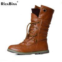Wholesale Wedge Platform Boots Vintage - Big size 34-43 Women Half Knee High Boots Vintage Flats Heels Lace Up Warm Winter Fur Shoes Round Toe Platform Snow Boots