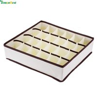 Wholesale Storage Box For Socks - 24 Cell Collapsible Nonwoven Storage Box Container Drawer Divider Lidded Closet Boxes For Ties Socks Bra Underwear Organizer