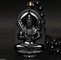 Wholesale Obsidian Buddha Pendant - 100% Natural black Obsidian hand Carved Bodhisattva Akashagarbha Buddha pendant