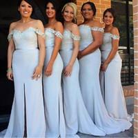 Wholesale Coral Maxi Dresses Bridesmaid - Slit Bridesmaids Dresses Light Sky Blue Off The Shoulder Mermaid Maid Of Honor Gowns Floor Length Maxi Plus Size Women Bridesmaid Dress