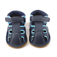 Wholesale Sky Baby Shoes - Delebao 2017 Summer Color Baby Sandals Navy Blue And Sky Blue Hollow Hook & Loop Rubber Sole Prewalkers Baby Shoes