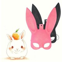 Wholesale Sexy Animal Halloween Costumes - Masquerade Rabbit Mask Sexy Long Ears Halloween Costume Party Gift Cosplay Fancy Rabbit Mask Props Toy KKA3045