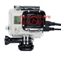 Wholesale Gopro Av Cable - Skeleton Protective Housing Case Box For Gopro Hero 3 Without Lens Side-opening For AV,USB,HDMI Cable For Go pro HD Camera GP30