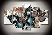 Wholesale Modern Picture Frame Set - 5 Pieces set canvas wall art Modern Butterflies and Flowers Wall Painting flower Home Art Picture Paint on Canvas Prints