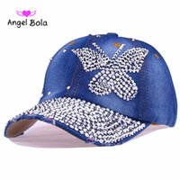 Wholesale Girls Denim Baseball - Angel Bola Hot Sale Blue White Rhinestone Butterfly Girl Women Snapback Hats New Fashion High Quality Hip Hop Denim Baseball Cap