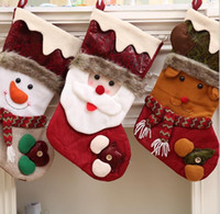 Wholesale Hot Santa Costume - Hot sale Christmas decorations socks Snowman Elk Pattern Christmas Socks size 45*21cm and 48*24cm